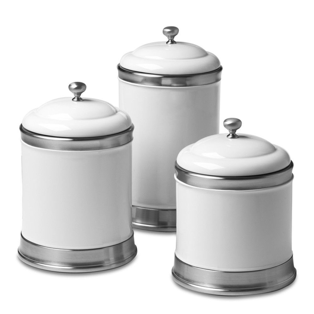 Williams Ceramic Canisters White Set Of 3 Williams