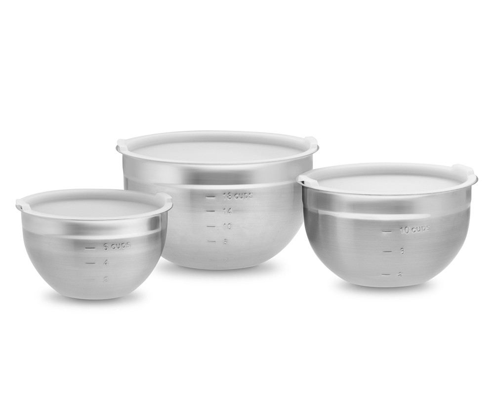 stainless steel mixing bowls with lids set of 3 williams sonoma au. Black Bedroom Furniture Sets. Home Design Ideas