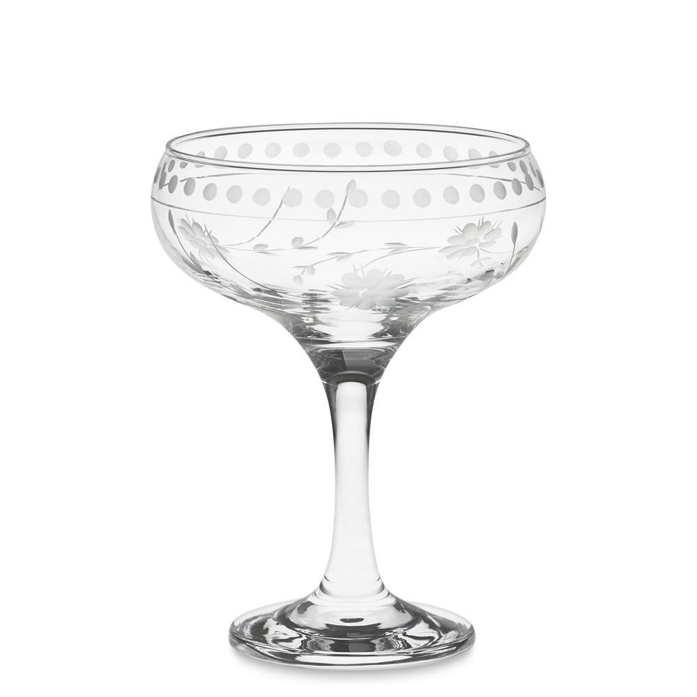 Vintage Etched Coupe Glass