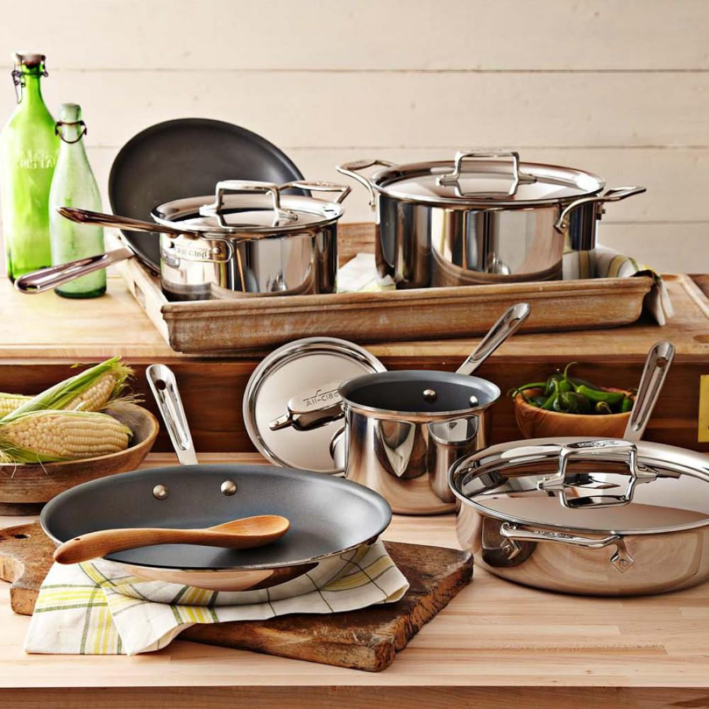 All clad d5 stainless steel nonstick 10 piece cookware set for Cooking kitchen set