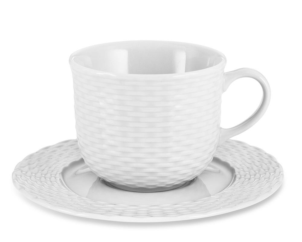 Pillivuyt Basketweave Porcelain Cup & Saucer