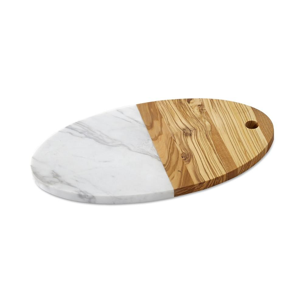 Olivewood & White Marble Oval Board