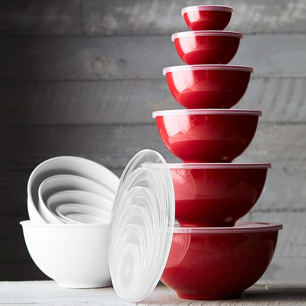 Melamine Mixing Bowls with Lid, Set of 6, Red