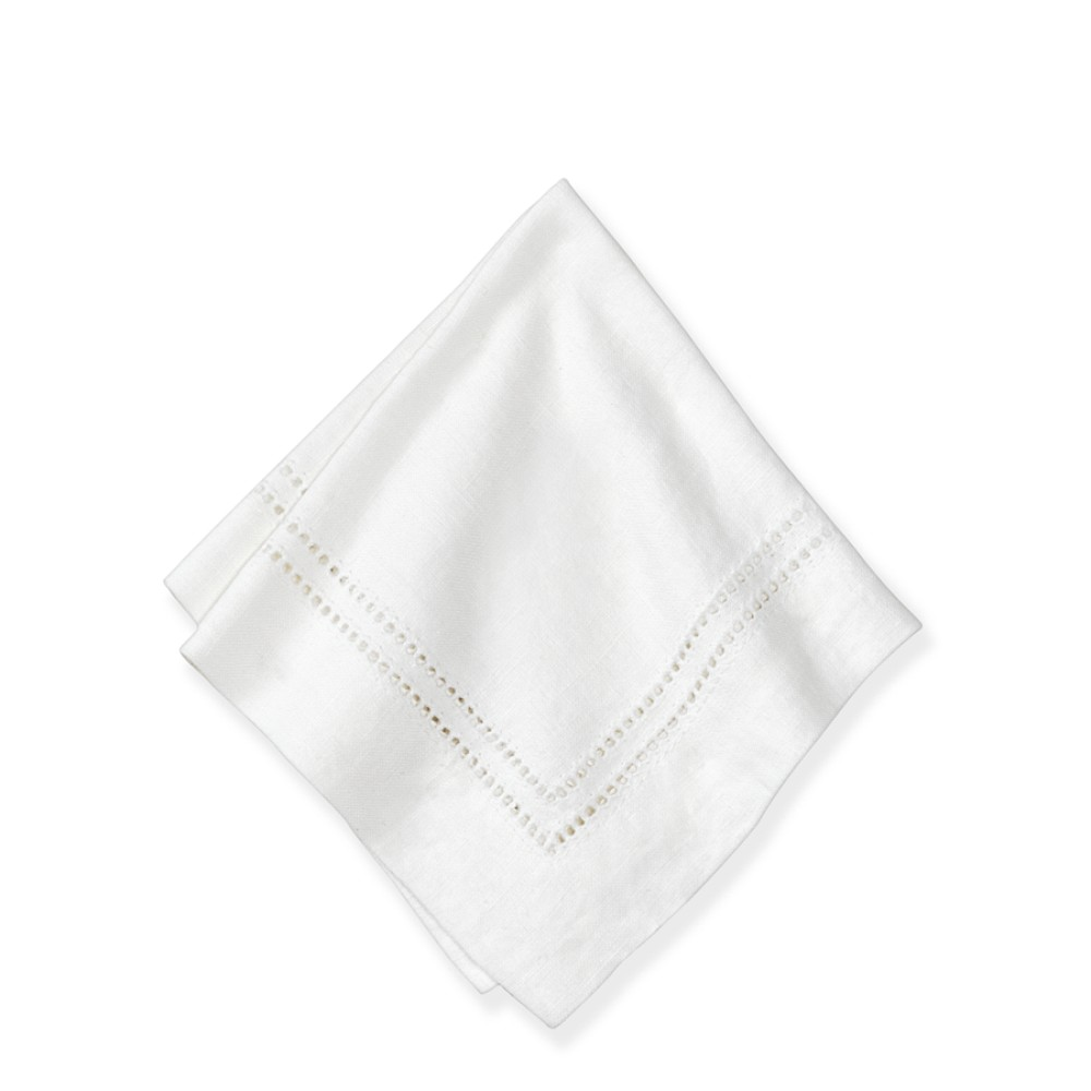Linen Double Hemstitch Cocktail Napkin