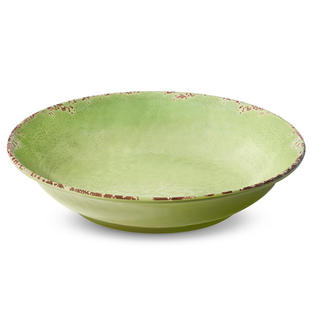 Rustic Melamine Serving Bowl, Leaf Green