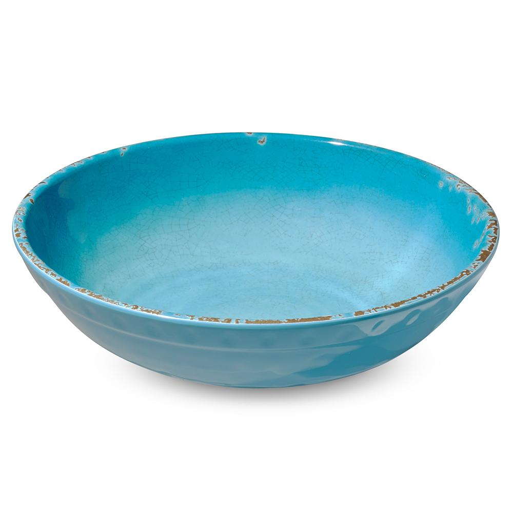 Rustic Melamine Serving Bowl, Turquoise
