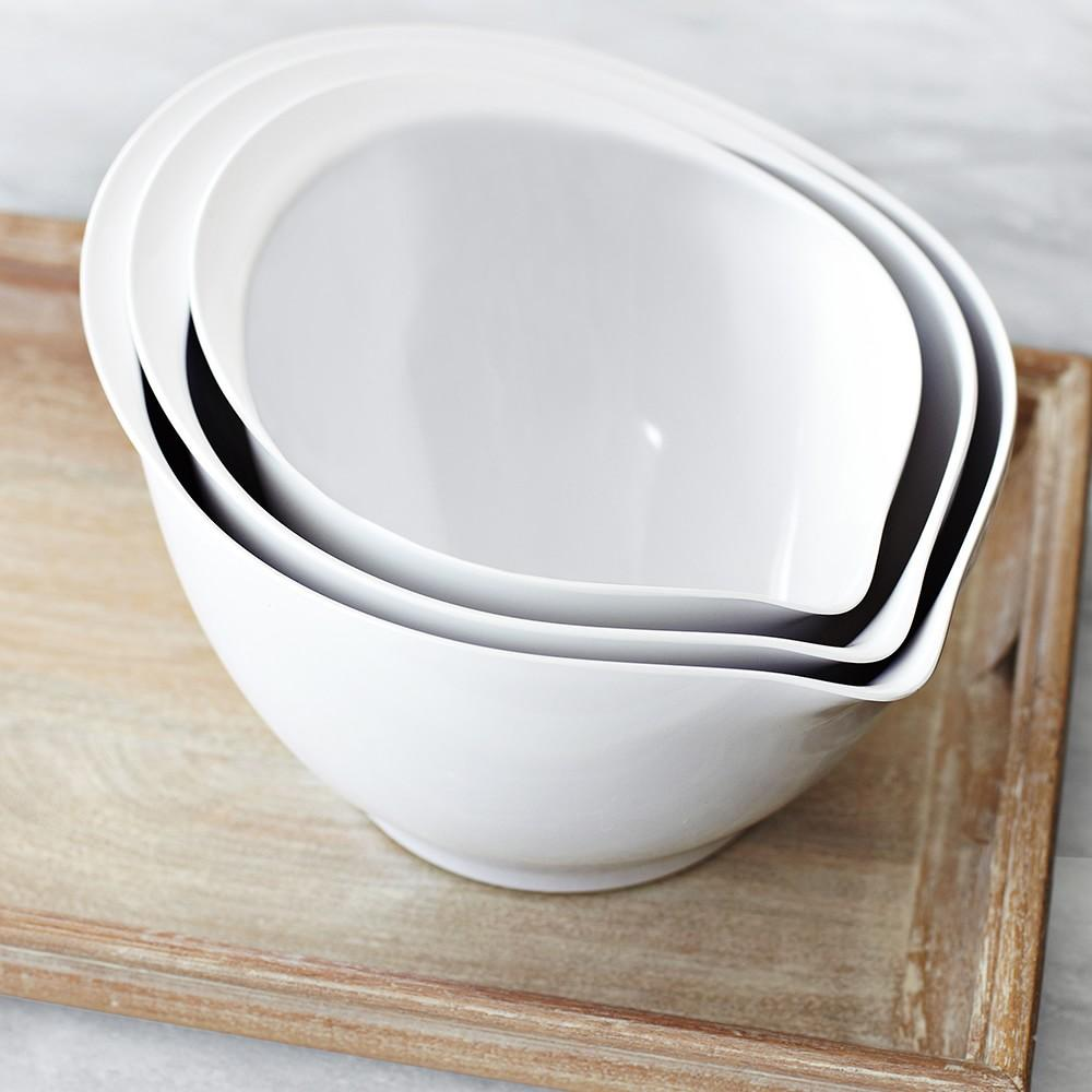 White Melamine Mixing Bowls with Spout, Set of 3