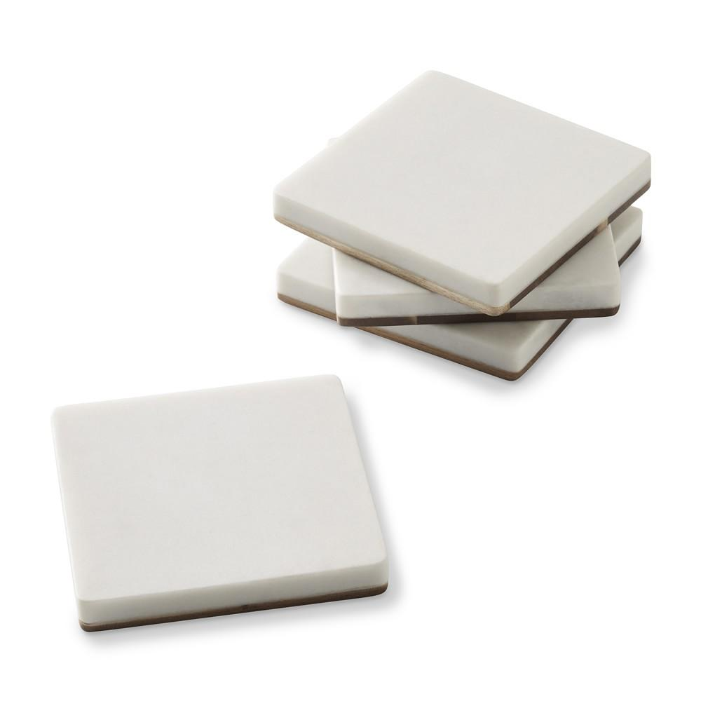 Marble & Dark Wood Coasters, Set of 4