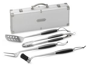 Williams Sonoma Stainless-Steel Handled 4-Piece BBQ Tool Set with Storage Case
