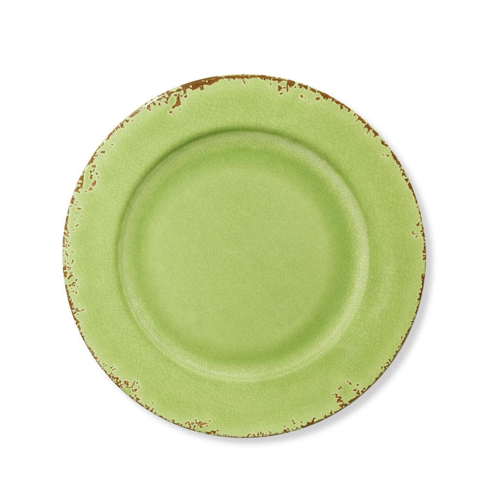 Rustic Melamine Salad Plate, Leaf Green