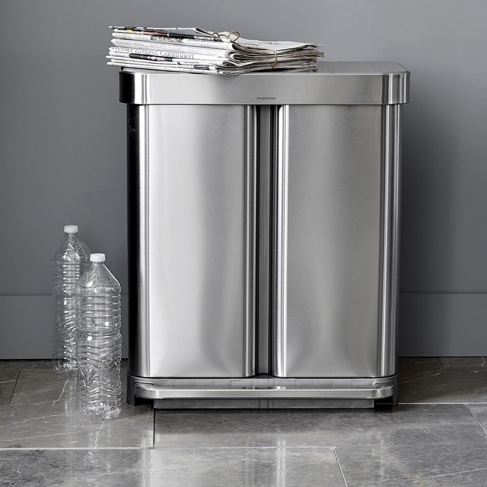 simplehuman™ 58-L. Dual Compartment Rectangular Rubbish Bin