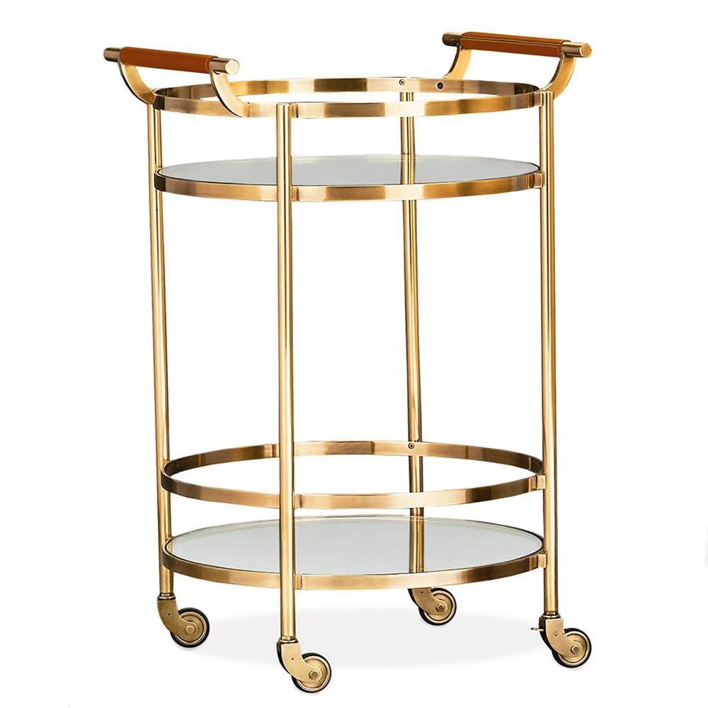 truman round bar cart antique brass saddle leather. Black Bedroom Furniture Sets. Home Design Ideas
