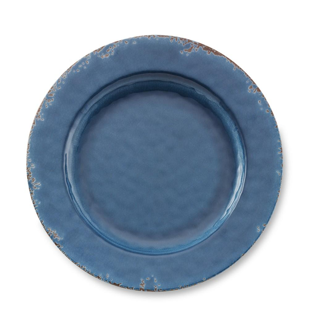Rustic Outdoor Melamine Dinner Plate, Azure Blue