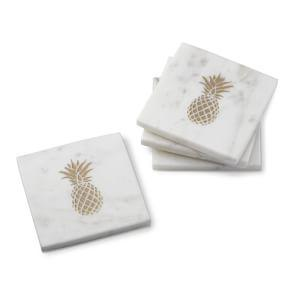 Marble Coasters with Gold Pineapple, Set of 4