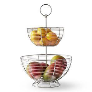 Silver Wire Fruit Basket, Tiered