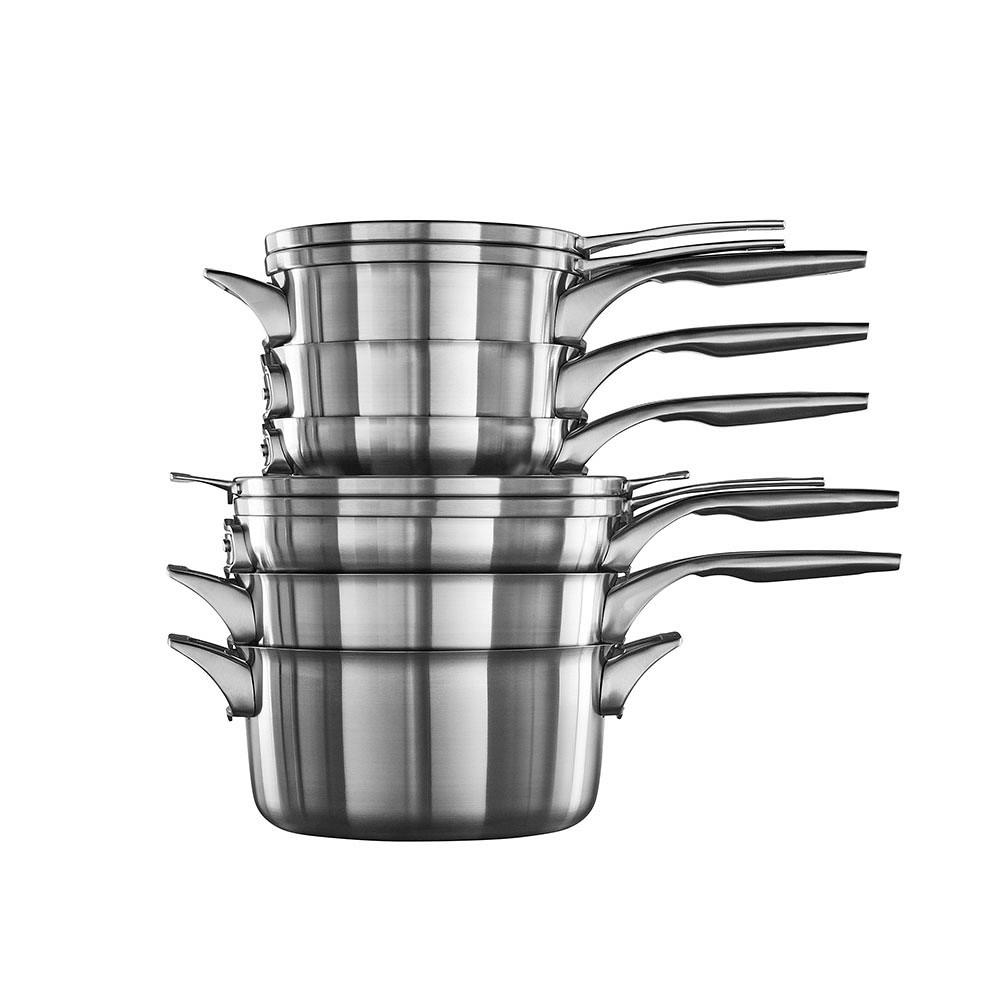 Calphalon Premier Space-Saving Stainless Steel 10-Piece Cookware Set