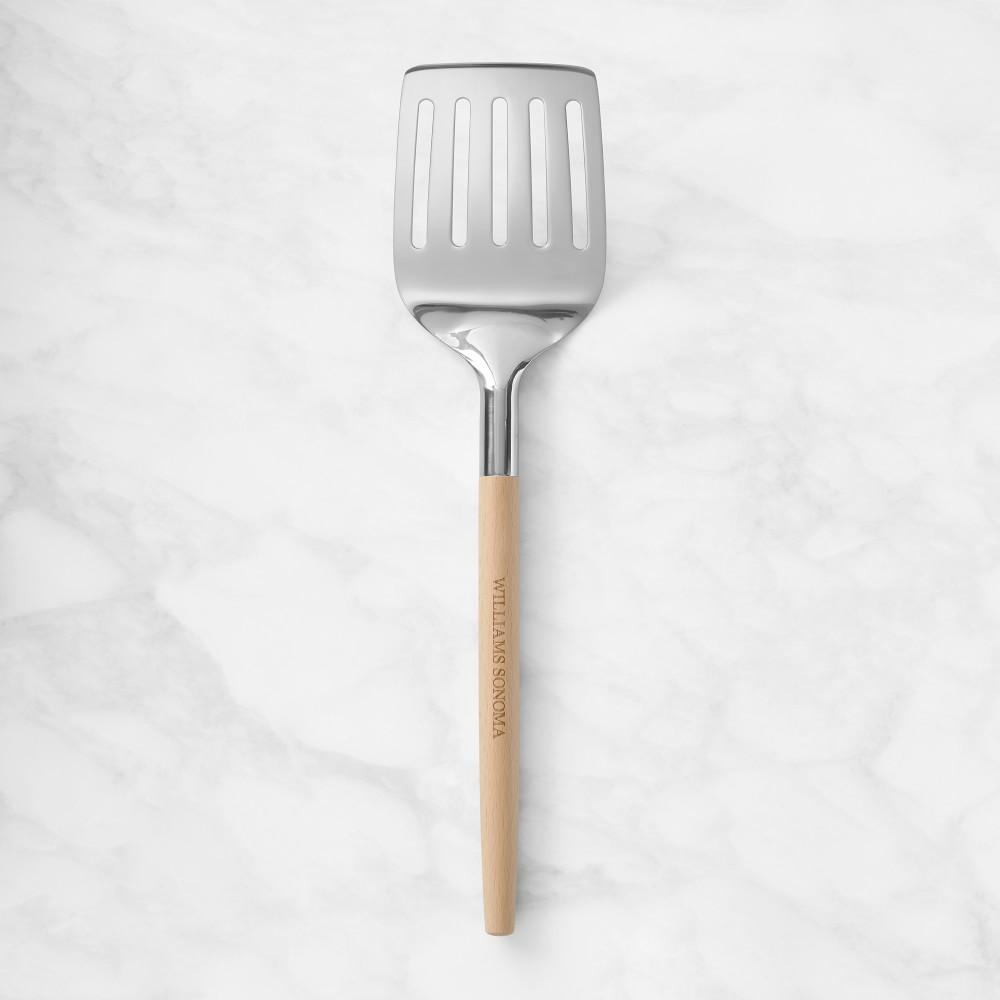 Williams Sonoma Stainless-Steel Slotted Turner with Wooden Handle