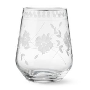 Vintage Etched Stemless Wine Glass