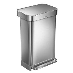 simplehuman™ Rectangular Step Rubbish Bin with Liner Pocket, Brushed Stainless-Steel