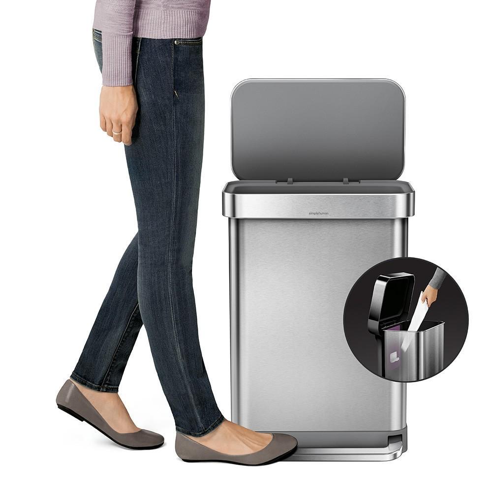 simplehuman™ Rectangular Step Rubbish Bin with Liner Pocket, Brushed Stainless-Steel