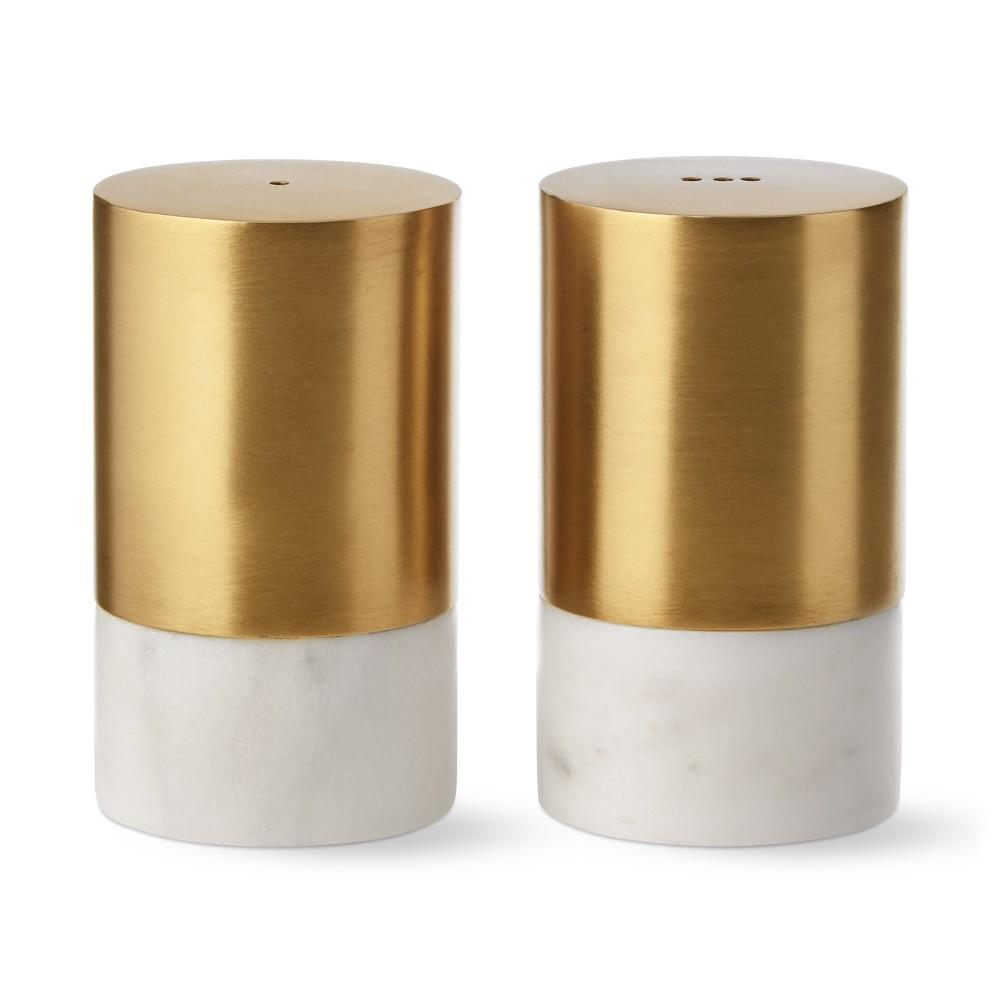 Marble & Brass Salt & Pepper Shakers