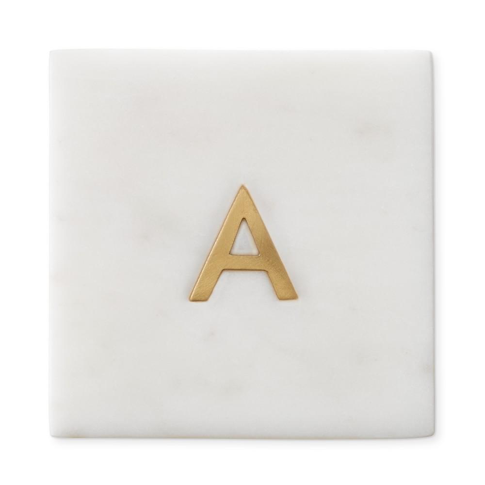 Marble & Brass Monogram Coasters, Set of 4