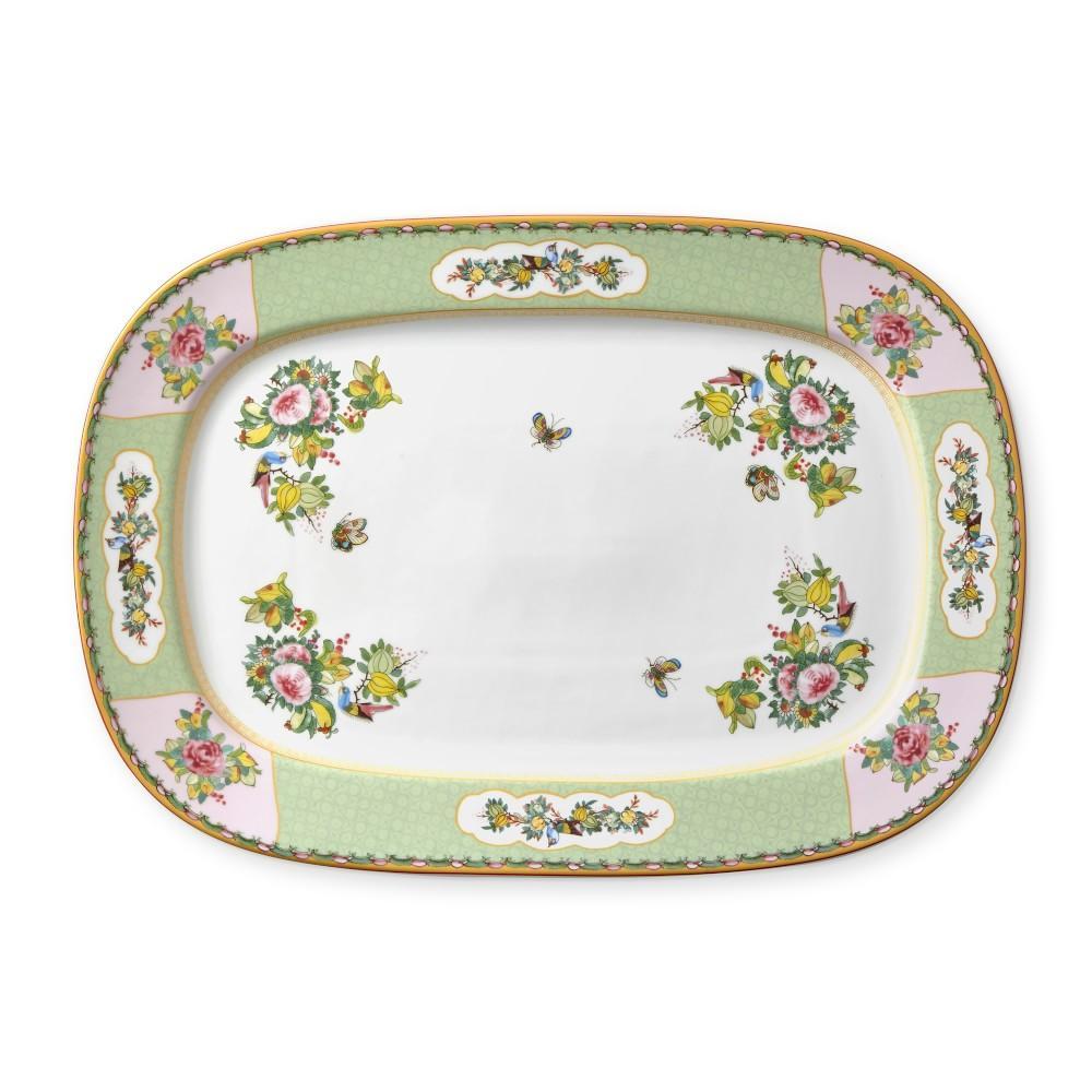 Famille Rose Rectangular Platter, Green Rim