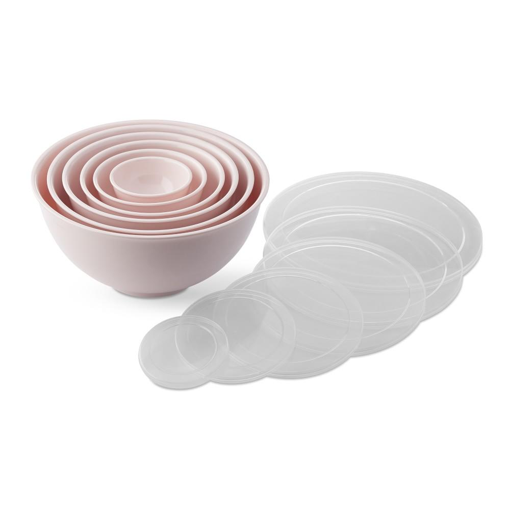 Melamine Mixing Bowls with Lid, Set of 6, Pink