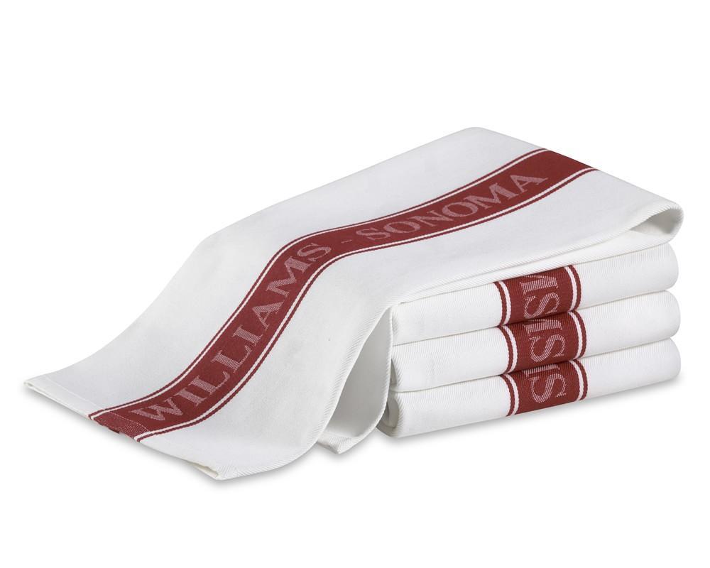 Williams Sonoma Classic Logo Tea Towels, Set of 4, Claret Red