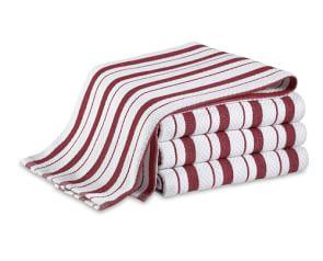 Williams Sonoma Classic Striped Tea Towels, Set of 4, Claret Red