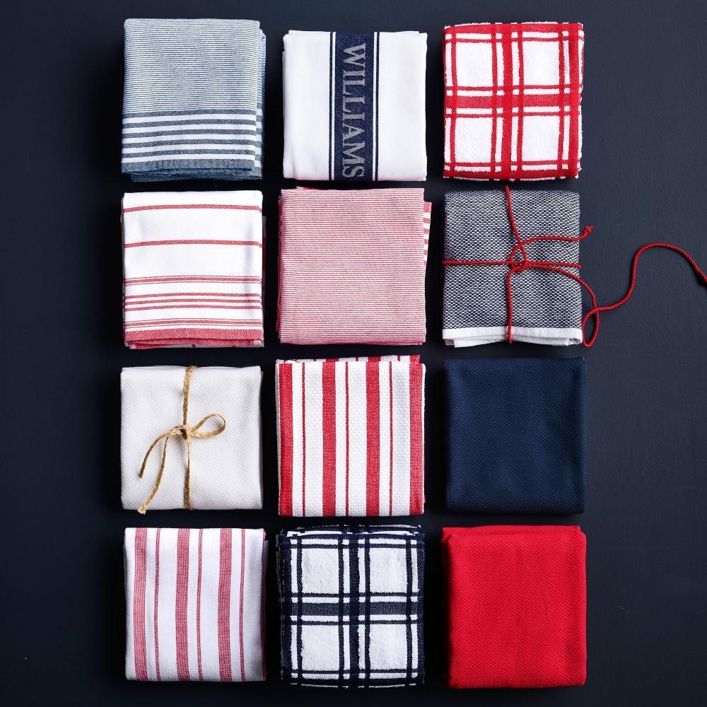 Williams Sonoma Classic Striped Tea Towels, Set of 4, Claret Red