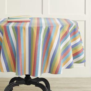 Summer Stripe Oilcloth Round Tablecloth, 178 cm