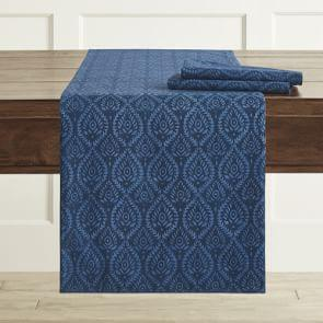 AERIN Ogee Table Runner, Blue