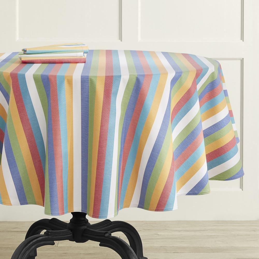 Summer Stripe Oilcloth Round Tablecloth, 178 cm