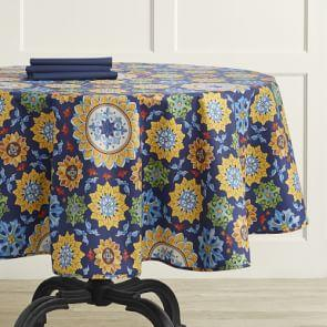 Sicilian Mosaic Oilcloth Outdoor Round Tablecloth, 178 cm