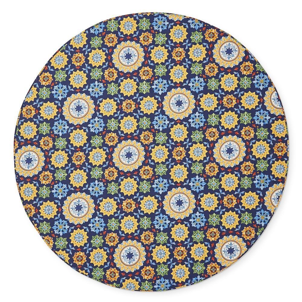 Sicilian Mosaic Oilcloth Outdoor Round Tablecloth, 178 cm