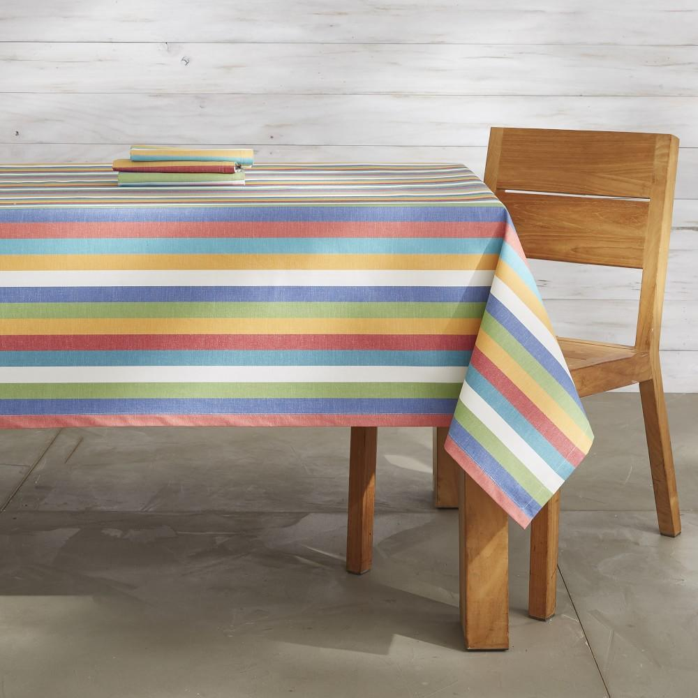 Summer Stripe Oilcloth Tablecloth, 178 cm X 274 cm