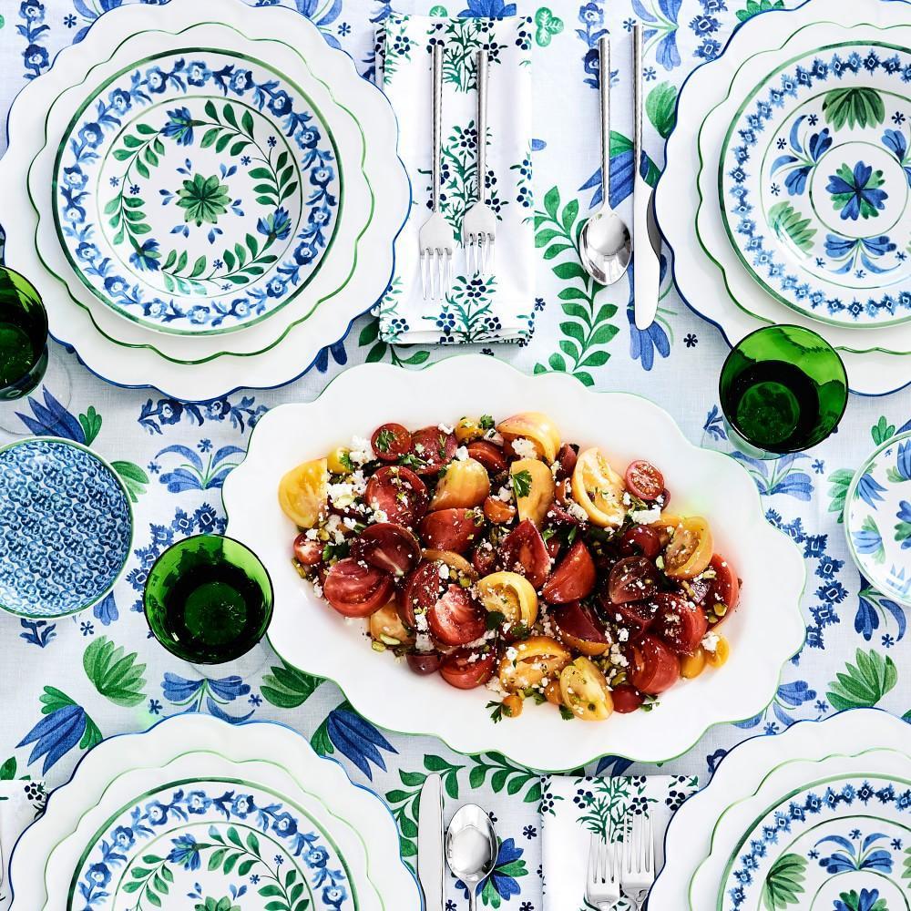 AERIN Scalloped Green Rim Dinner Plate