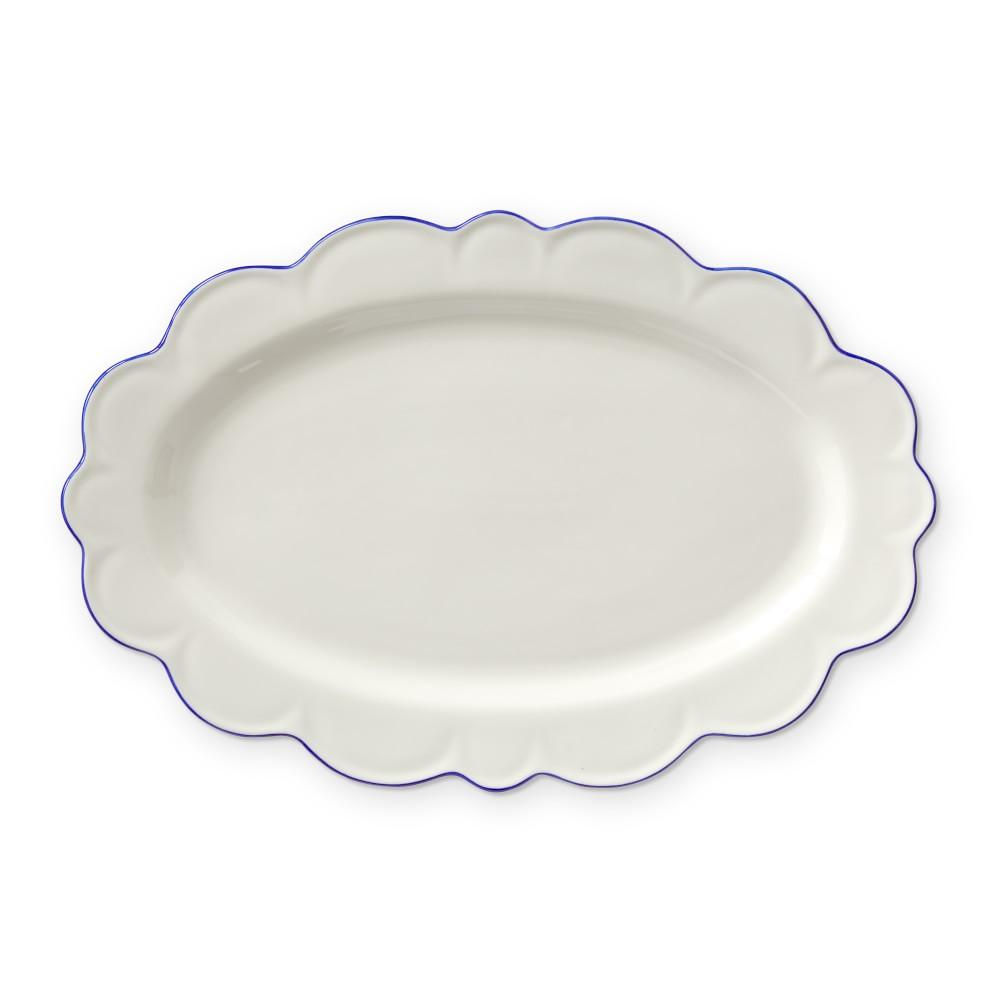 AERIN Scalloped Blue Rim Oval Platter
