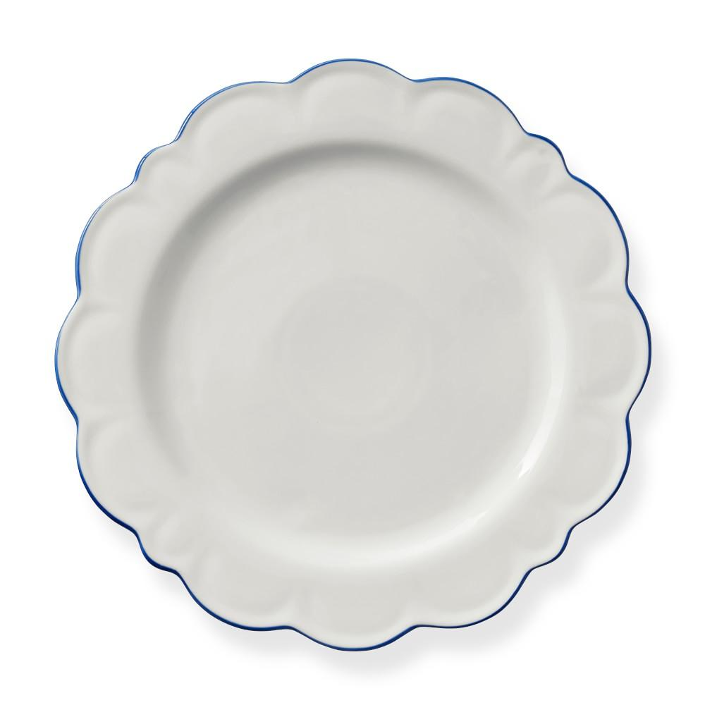 AERIN Scalloped Blue Rim Charger