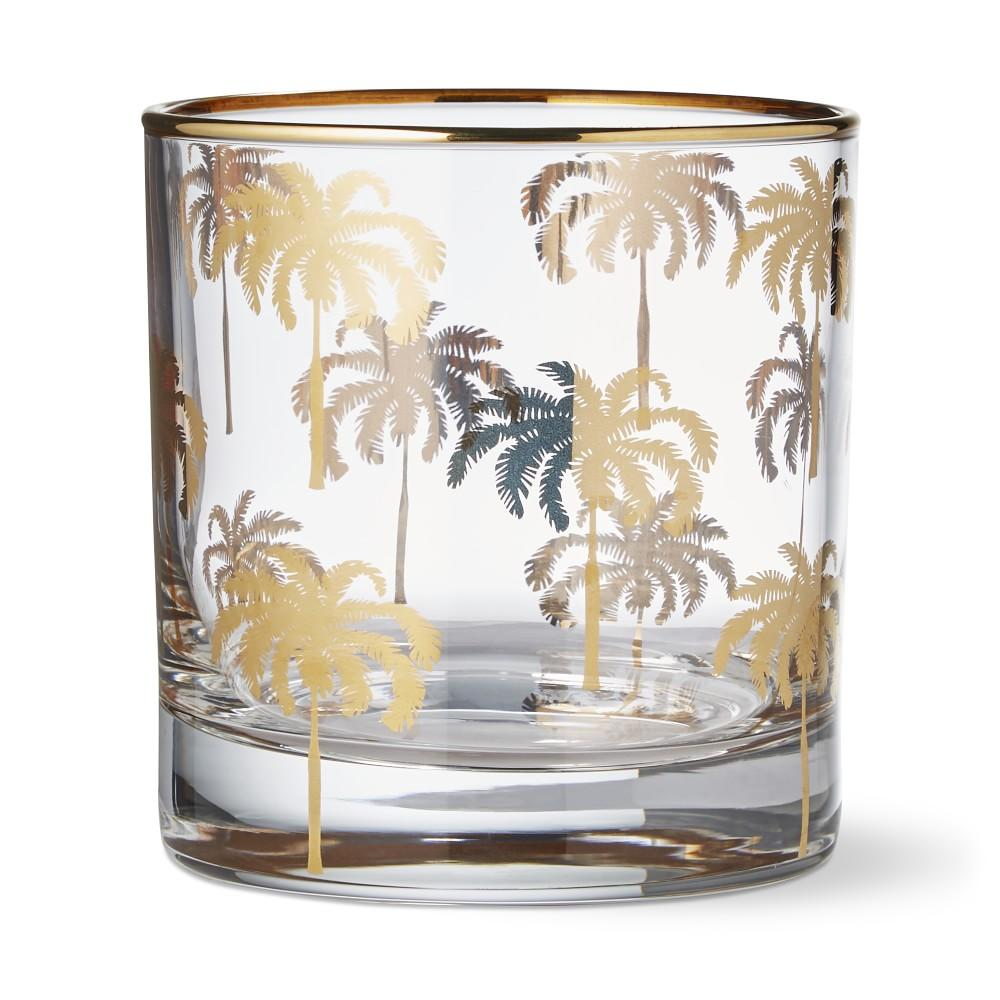 Gold Palm Tree Double Old-Fashioned Glass