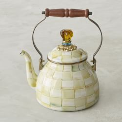 MacKenzie-Childs Parchment Check Enamel Kettle
