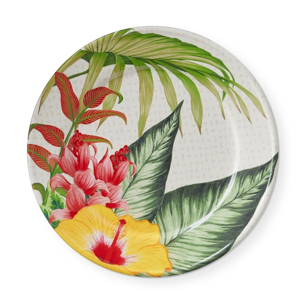 Hawaii Palm Outdoor Melamine Dinner Plate, Hibiscus