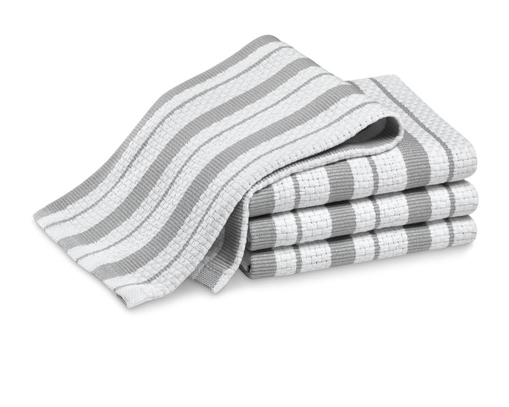 Williams Sonoma Classic Striped Dishcloths, Set of 4, Drizzle Grey