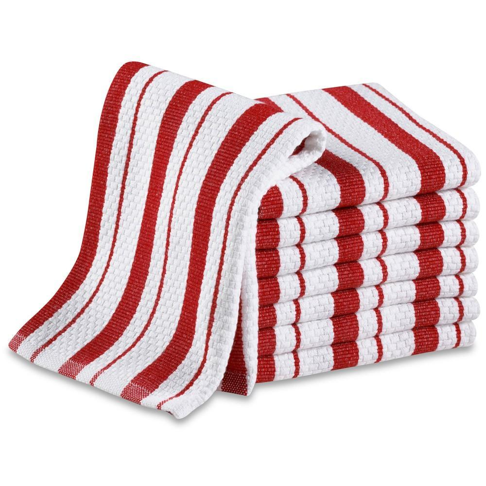 Williams Sonoma Classic Striped Dishcloths, Set of 4, Claret Red