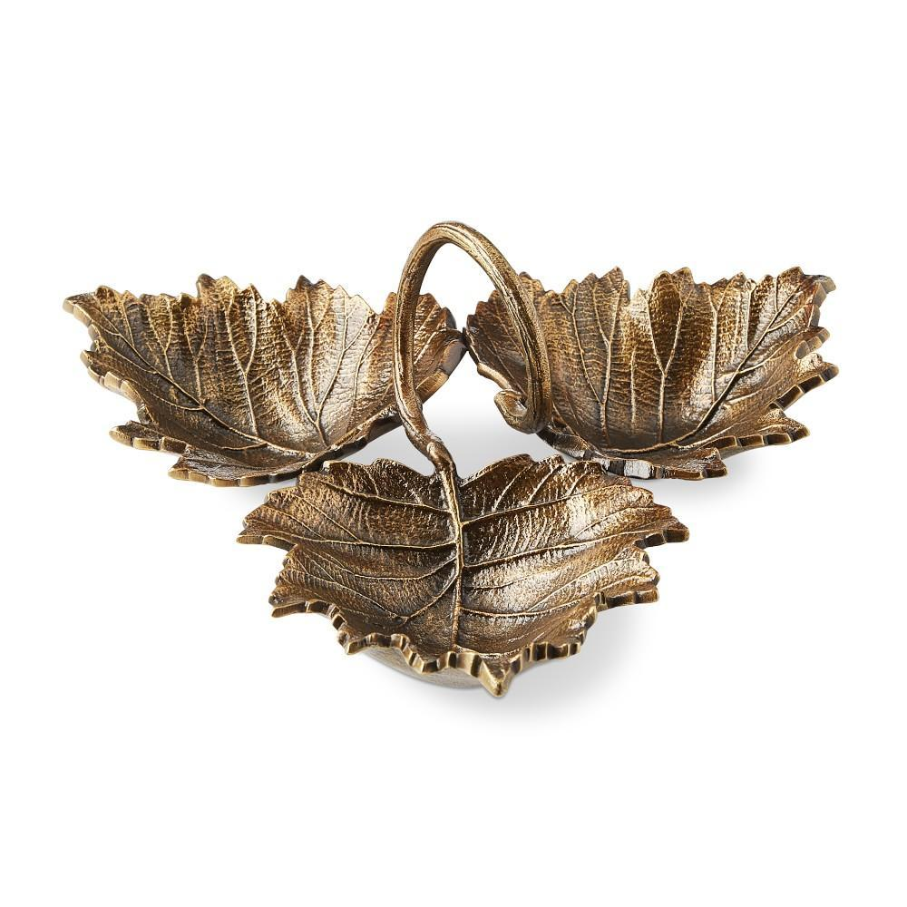 Antique Brass Leaf 3 Condiment Dish