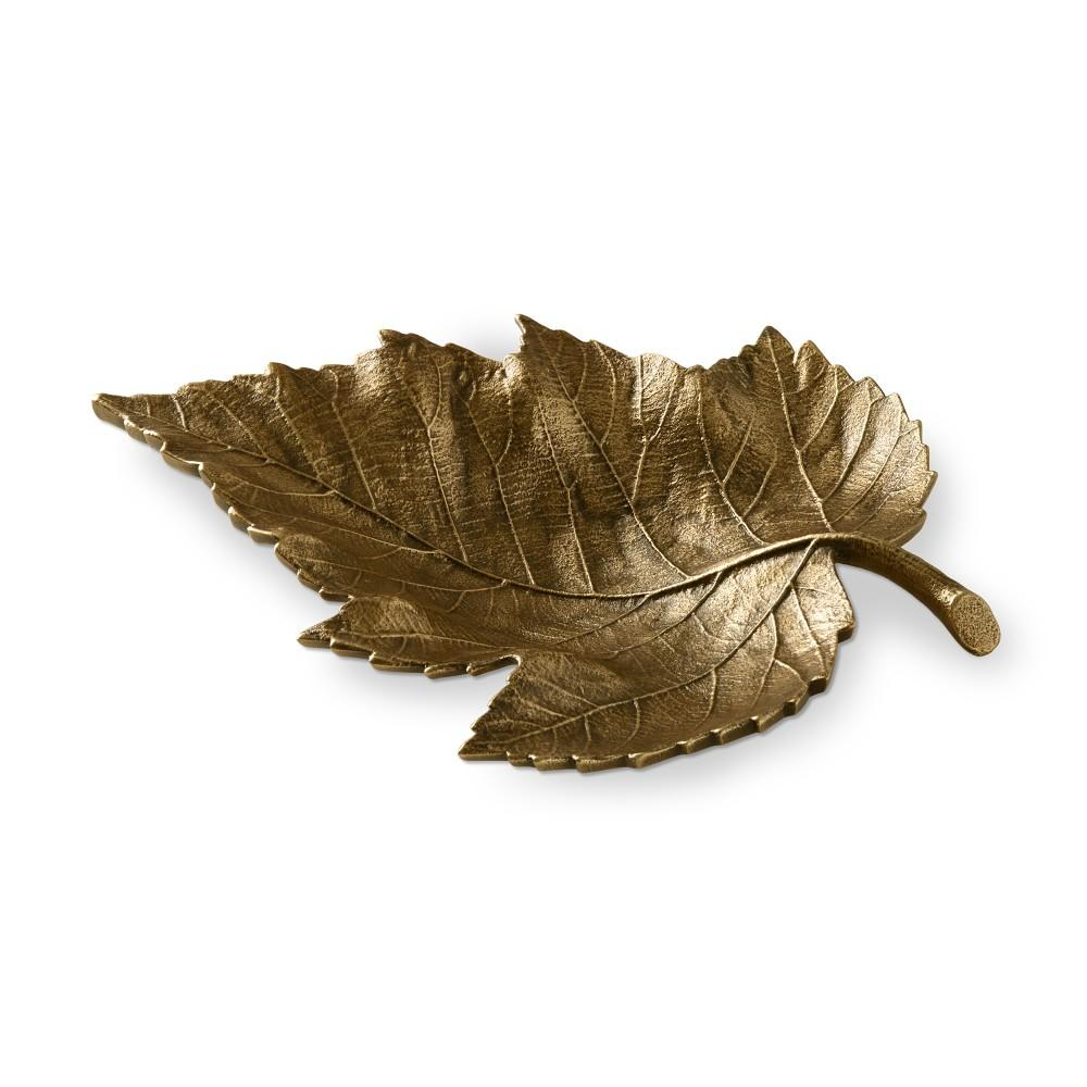 Antique Brass Leaf Platter