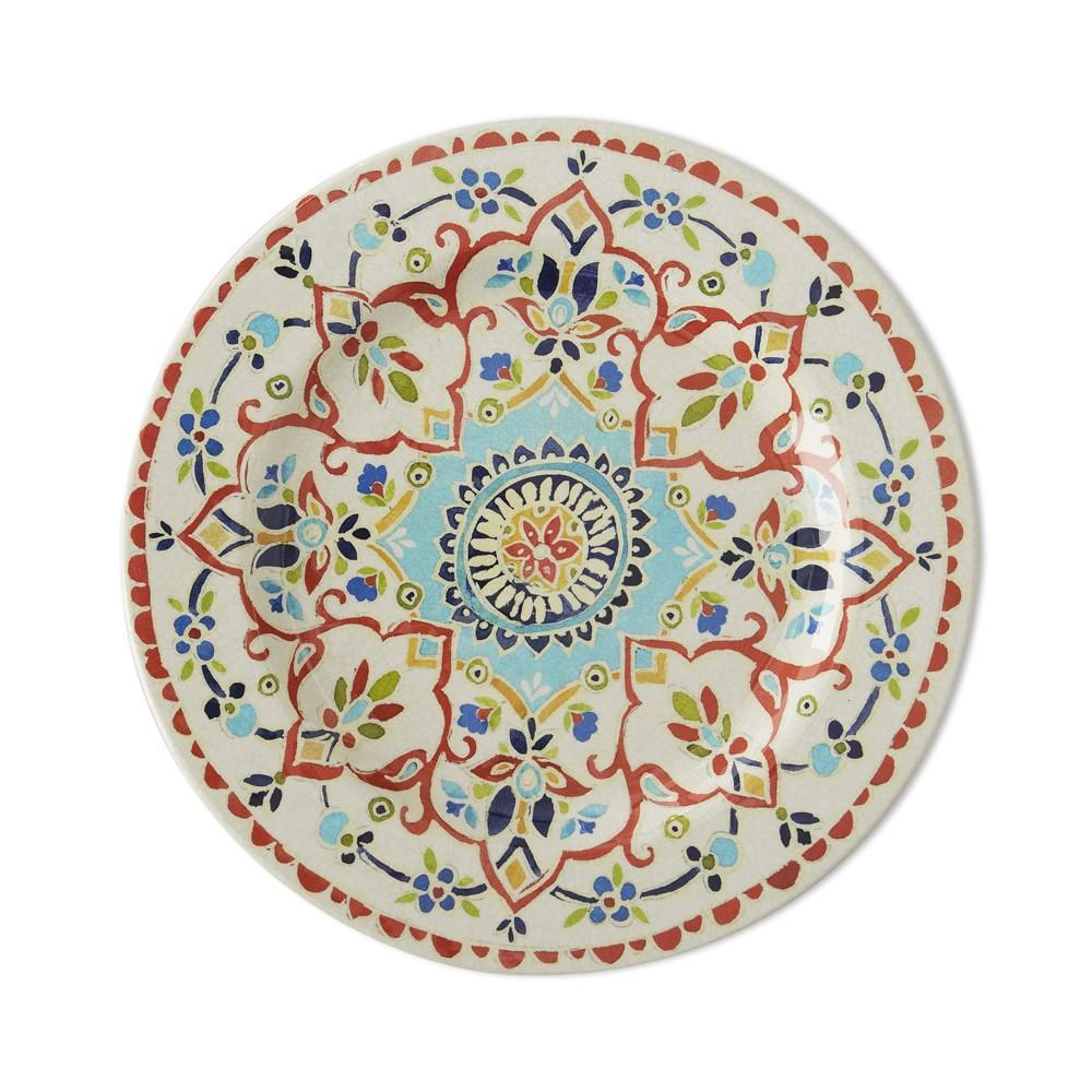 Iznik Tile Outdoor Melamine Dinner Plate, Red & White Floral