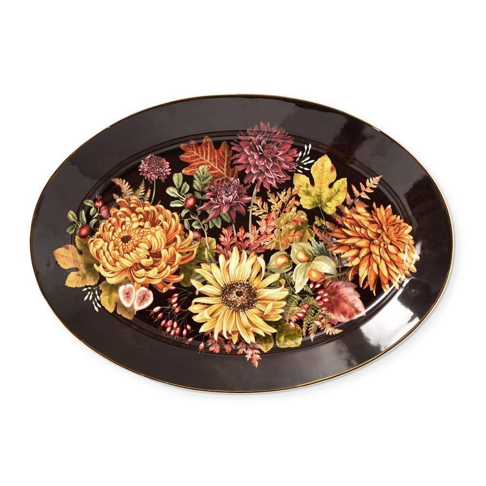 Harvest Bloom Oval Serving Platter