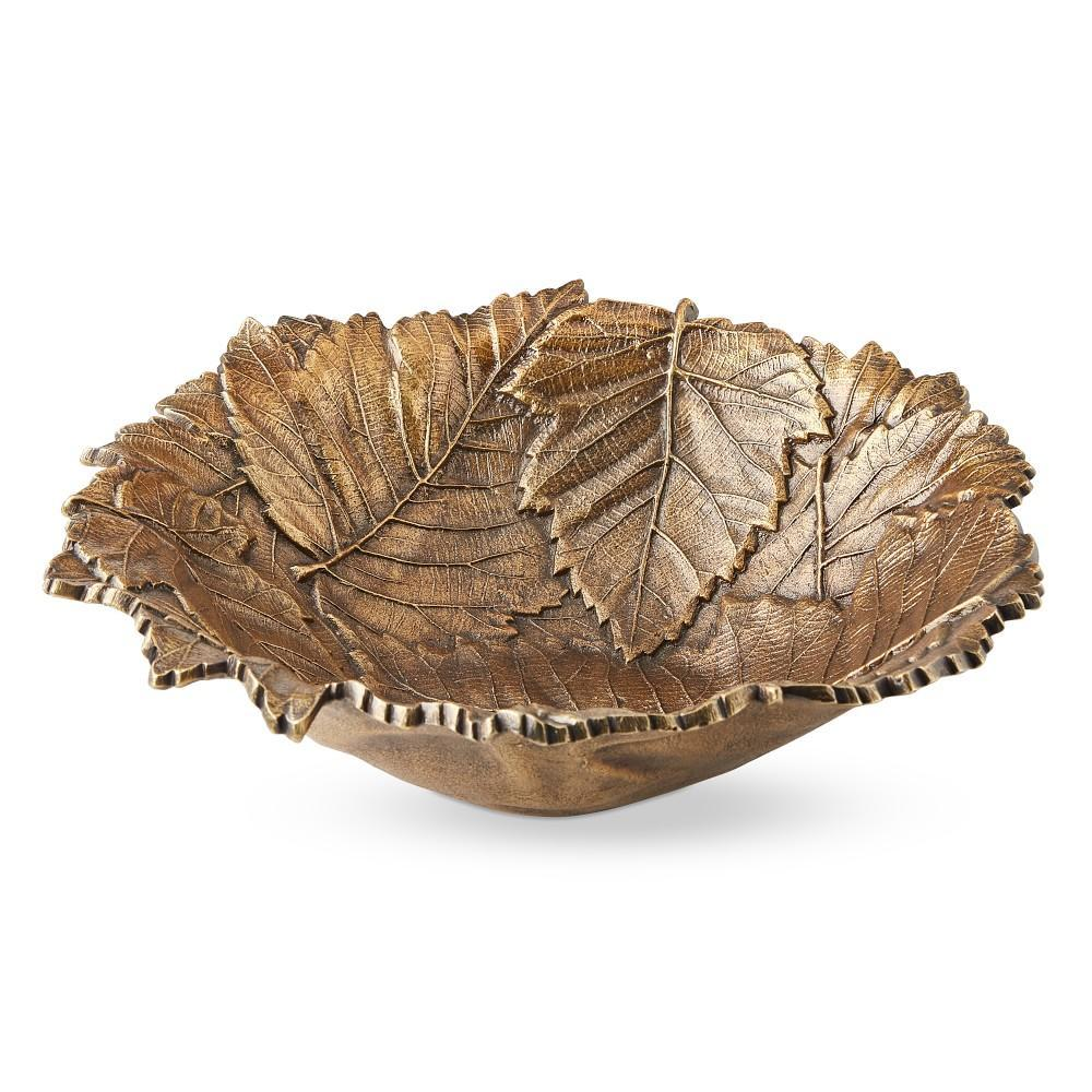 Antique Brass Leaf Serving Bowl